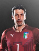 Gianluigi Buffon w bordowej koszulce reprezentacji Włoch