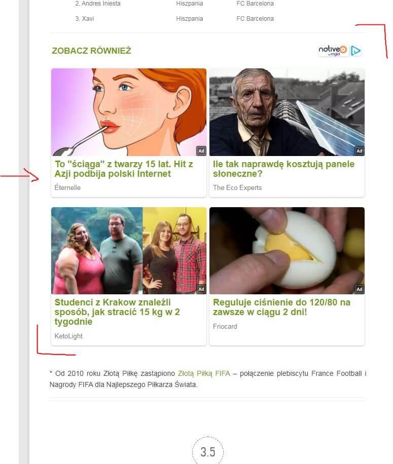 Umieszczenie reklamy w dolnej części artykułu tuż pod treścią